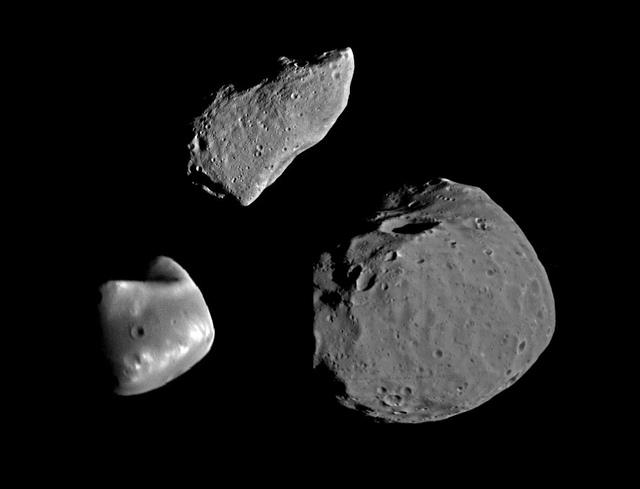 Gaspra, Deimos, and Phobos
