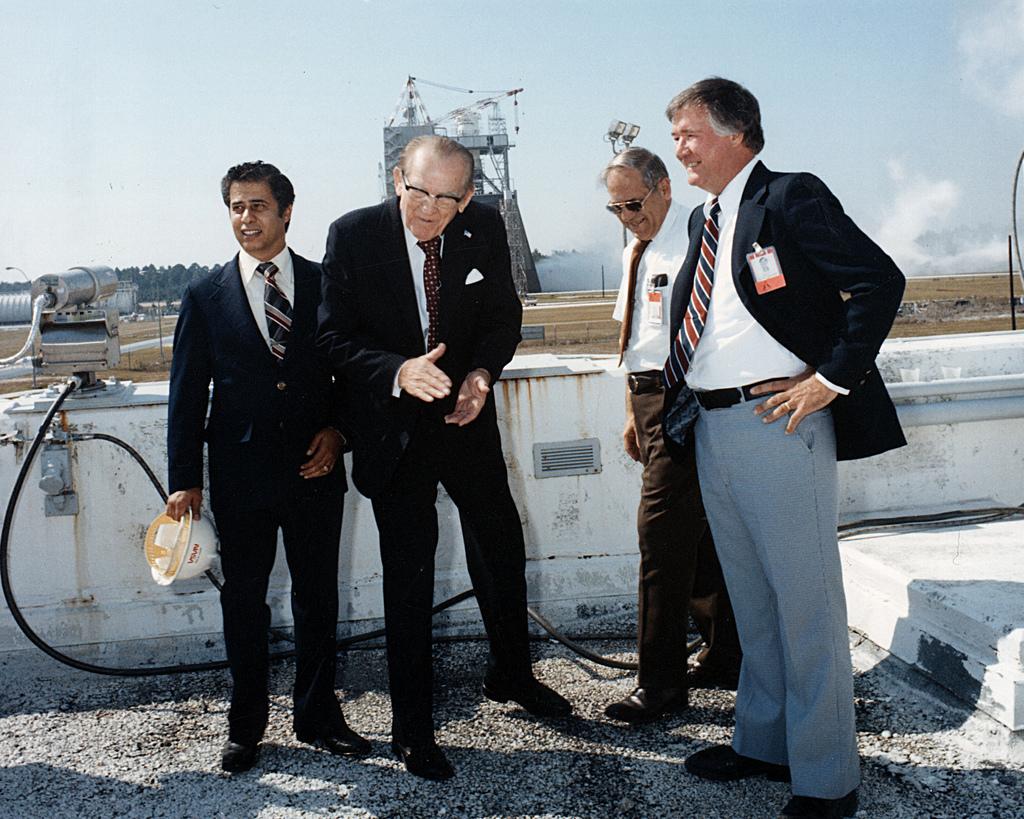 Sen. John C. Stennis celebrates a successful Space Shuttle Main Engine test