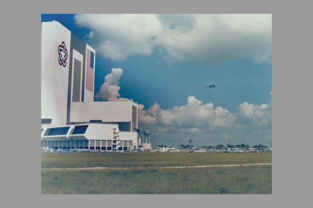The 747 Shuttle Carrier Aircraft, carrying the Space Shuttle Orbiter Enterprise piggyback, lifts off from the Shuttle Landing Facility's 15,000-foot-long runway at 11:03, August 10.  Enterprise flown to KSC on April 10 for use in checking out assembly, test and launch facilities which will be used for the launch of its sister ship Columbia on the first Space Shuttle flight, will make a five-stop flight to NASA's Dryden Flight Research Center in California. ARC-1980-AC80-0107-7