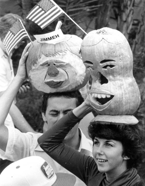 Pumpkins carved in the likeness of President Jimmy Carter in Polk County, Florida