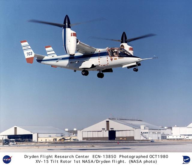 XV-15 tilt rotor takeoff - first NASA Dryden flight