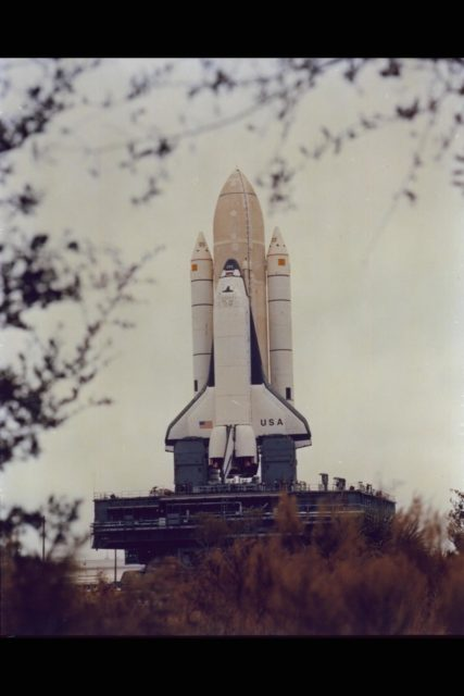 Space Shuttle Columbia at Launch Site. (ref: 81-HC-1) ARC-1981-AC81-0083-1