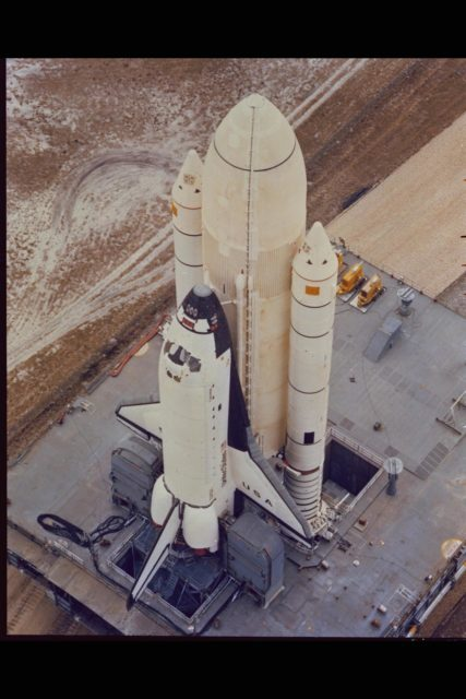 Space Shuttle Columbia at Launch Site. (ref: 81-HC-5) ARC-1981-AC81-0083-2