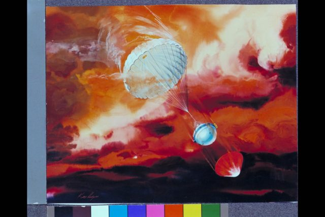 Artist: Ken Hodges Composite image explaining Objective and Motivation for Galileo Probe Heat Loads: Galileo Probe descending into Jupiters Atmosphere shows heat shield separation with parachute deployed.   (Ref. JPL P-19180) ARC-1981-AC81-0174