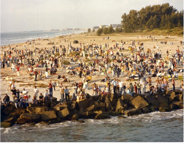 At Jetty Park in Port Canaveral, a crowd of approximately 6,000 gathered to view the 7 a.m. space shuttle launch. Many people spent the night at the Brevard County park, equipped with cameras, lawn chairs, and coolers. Jetty Park, south of the space center, was one of the best viewing sites in the county. KSC-81PC-0418
