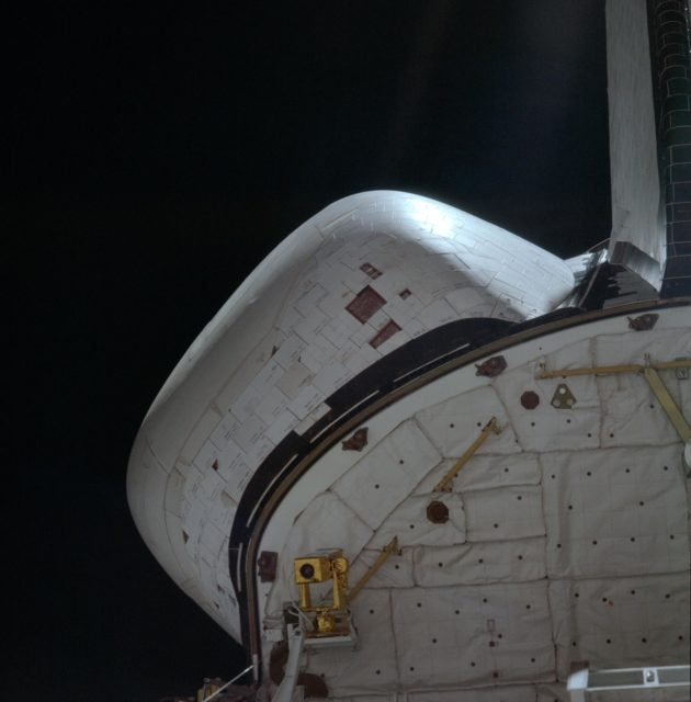 View of CCTV camera mounted on aft payload bay bulkhead