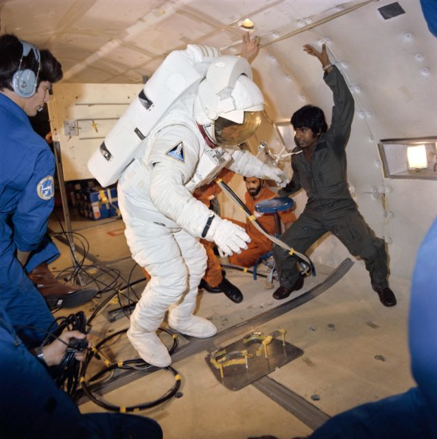 Astronaut C. Gordon Fullerton in donning/doffing exercise experiences