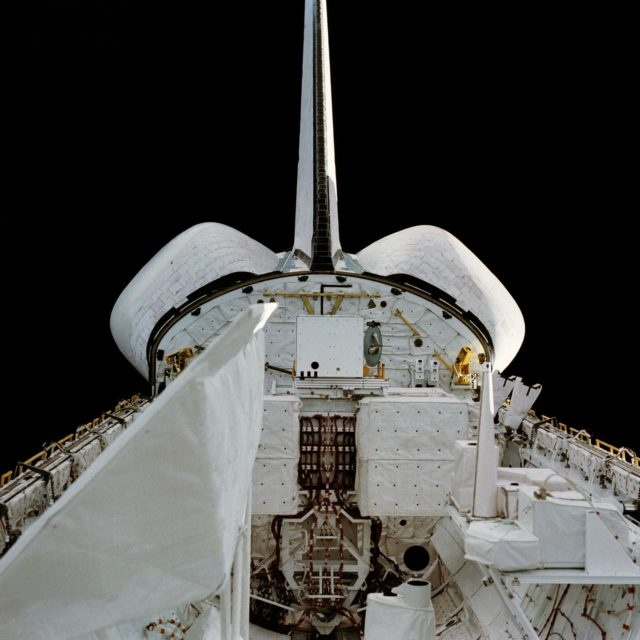 View of the Columbia's open payload bay