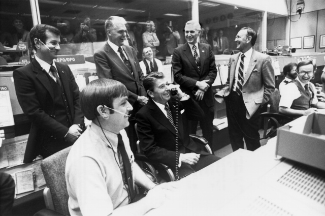 President Reagan at Mission Control, Houston
