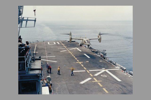 XV-15 Navy Sea Trials, Carrier Landing.  Ref.:  024506. ARC-1982-AC82-0612