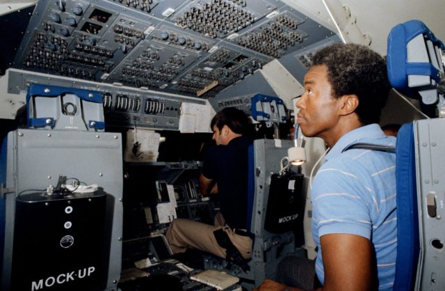 STS-8 crewmembers during shuttle mission simulation training