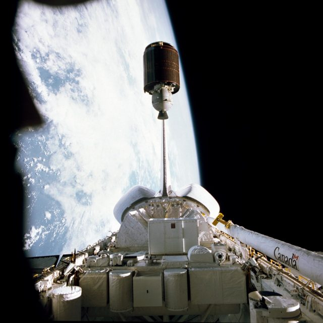 Palapa-B communications satellite launched from the Shuttle Challenger