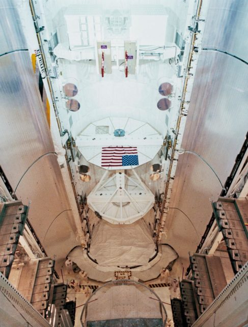 View of the Payload Flight Test Article (PFTA) installed in cargo bay