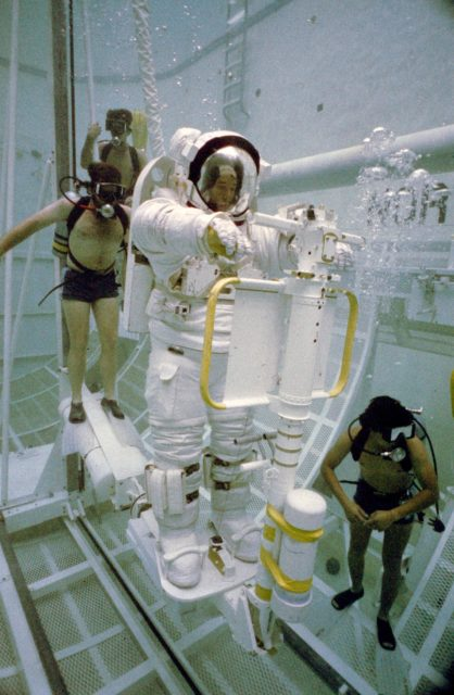Underwater EVA training in the WETF with astronaut Robert L. Stewart