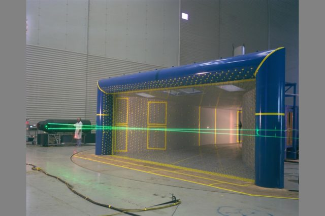 1/15th scale model of 40x80x120ft. inlet 3d tufts test in 40x80ft w.t. with Mike Reinath and Long-range laser (nicknamed Long John) ARC-1983-AC83-0773