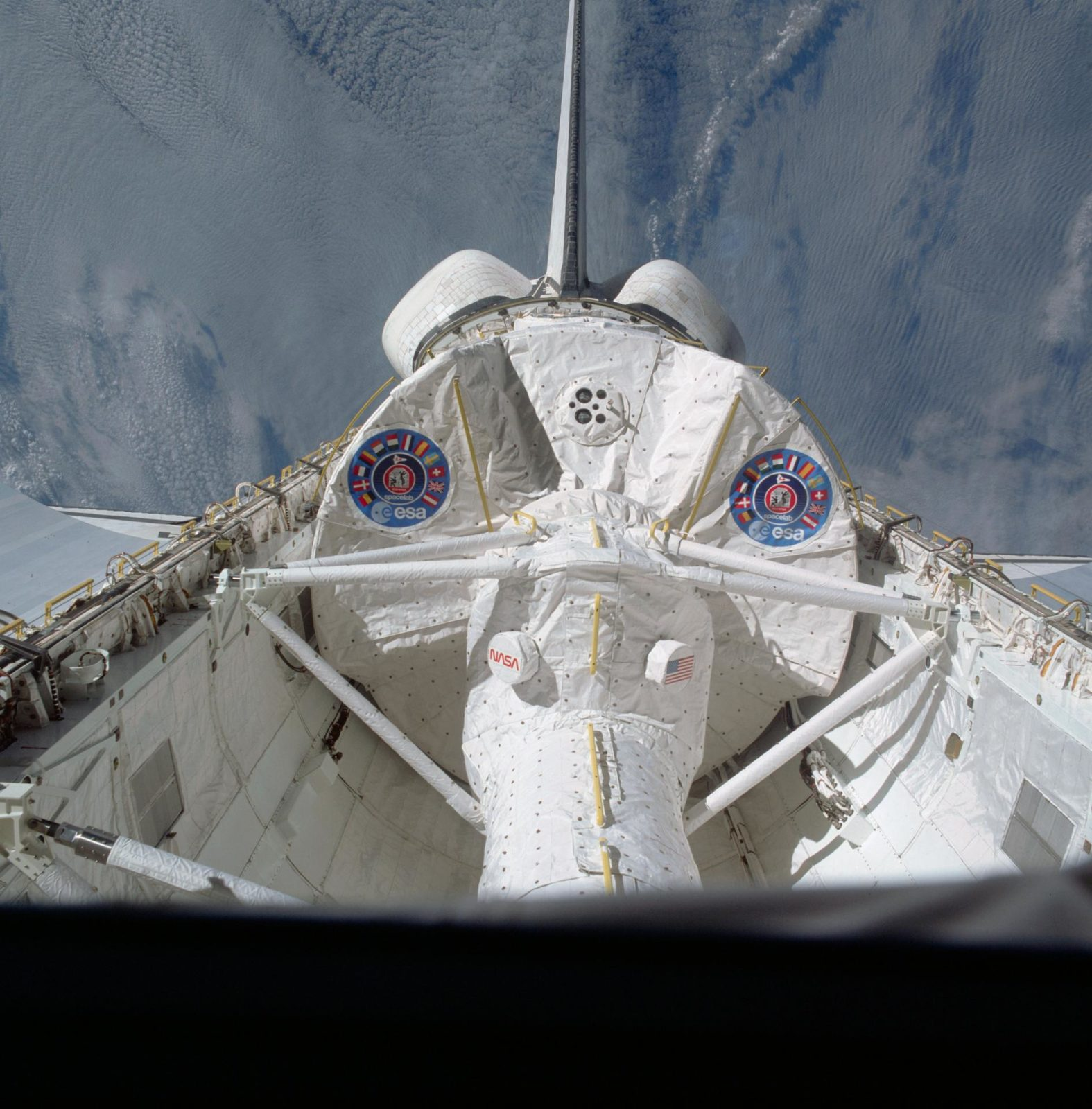 View of the Spacelab module in the payload bay of the Columbia during STS-9