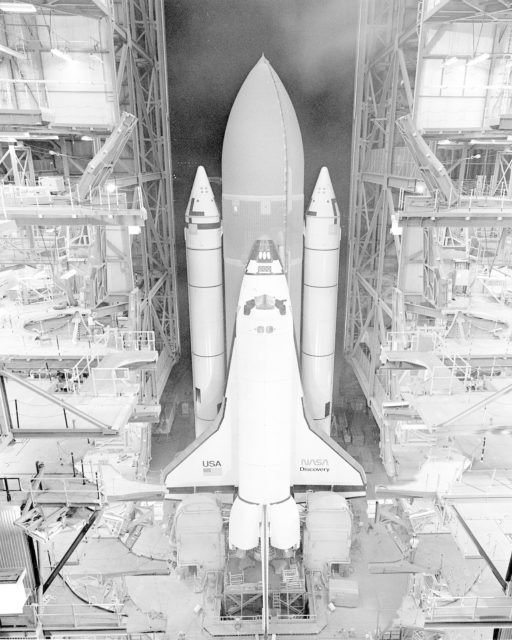 Orbiter Discovery - STS-41D rollout. KSC-84P-0174