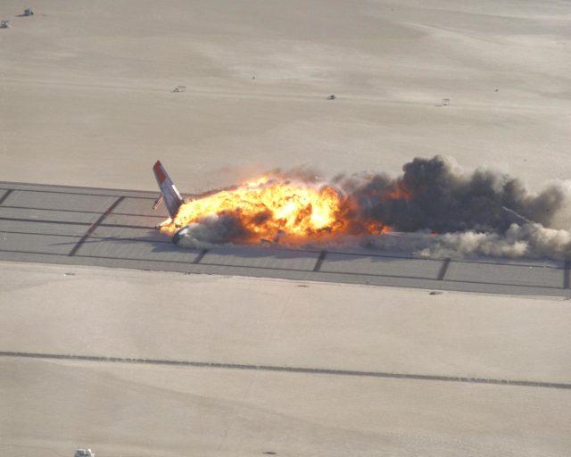 CID (Controlled Imact Demonstrator) Aircraft fireball after wing cutter impact. EC84-31808
