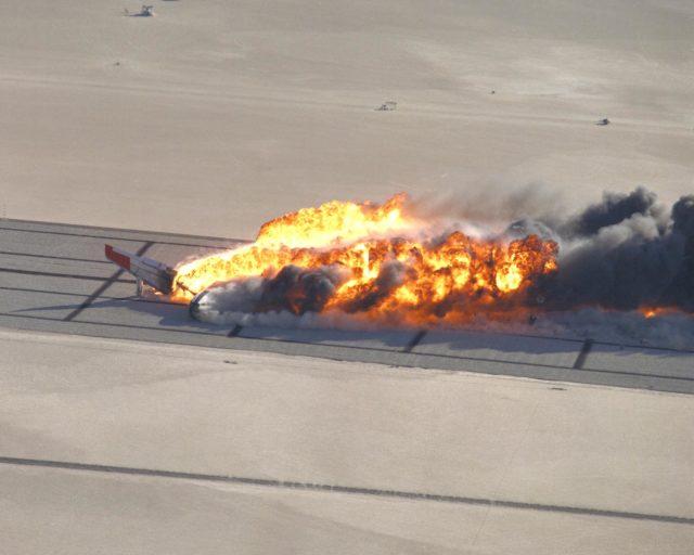 CID (Controlled Imact Demonstrator) Aircraft fireball after wing cutter impact. EC84-31809