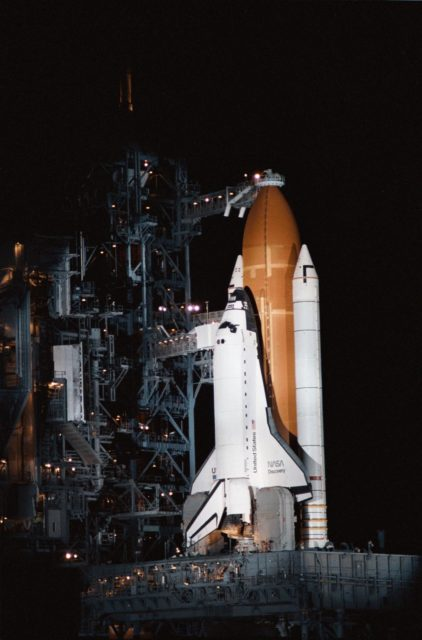 View of the shuttle Discovery on the launch pad just prior to STS 51-D launch