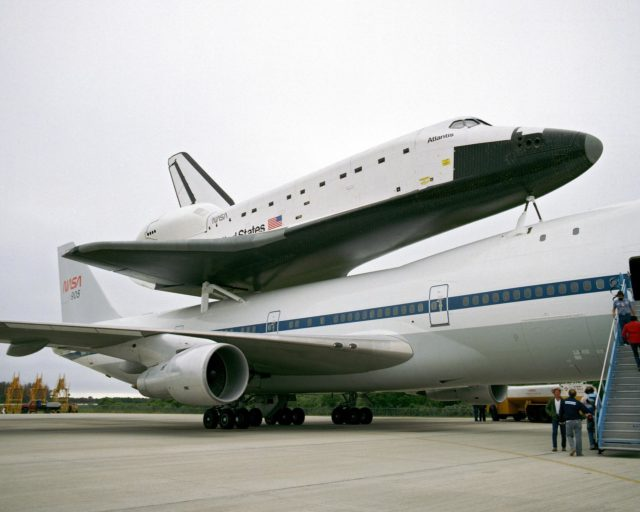 CAPE CANAVERAL, Fla. – At the Kennedy Space Center in Florida, the new space shuttle, Atlantis, arrives at the Shuttle Landing Facility. The shuttle is mounted atop the Shuttle Carrier Aircraft, a modified Boeing 747. Over the next seven months Atlantis will be prepared for its maiden voyage, STS-51J.      Atlantis, NASA's fourth space-rated shuttle, was named after the two-masted boat that served as the primary research vessel for the Woods Hole Oceanographic Institute in Massachusetts from 1930 to 1966. The boat had a 17-member crew and accommodated up to five scientists who worked in two onboard laboratories, examining water samples and marine life. Like its predecessors, Atlantis was constructed by Rockwell International in Palmdale, Calif. The spacecraft was transported over land from Palmdale to Edwards Air Force Base on April 3, 1985 for the cross-country ferry flight to Kennedy. For more: http://www.nasa.gov/centers/kennedy/shuttleoperations/orbiters/atlantis-info.html Photo credit: NASA/Louie Rochefort KSC-385C-1297-06