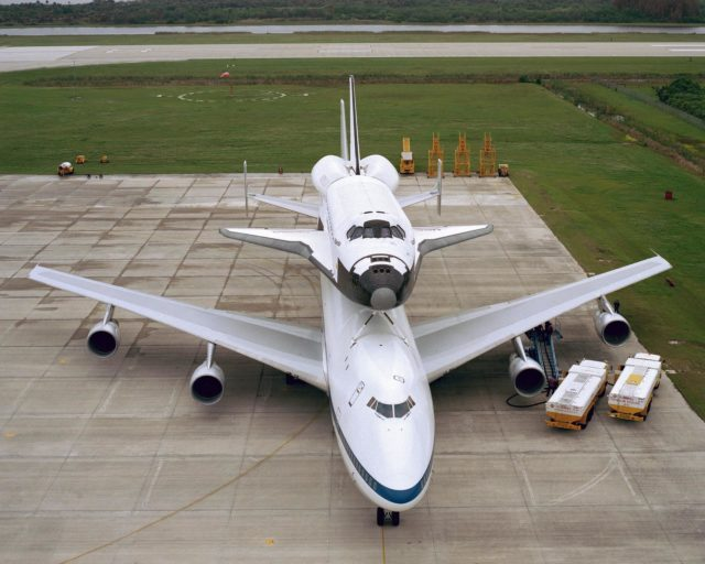 CAPE CANAVERAL, Fla. – At the Kennedy Space Center in Florida, the new space shuttle, Atlantis, arrives at the Shuttle Landing Facility. The shuttle is mounted atop the Shuttle Carrier Aircraft, a modified Boeing 747. Over the next seven months Atlantis will be prepared for its maiden voyage, STS-51J.      Atlantis, NASA's fourth space-rated shuttle, was named after the two-masted boat that served as the primary research vessel for the Woods Hole Oceanographic Institute in Massachusetts from 1930 to 1966. The boat had a 17-member crew and accommodated up to five scientists who worked in two onboard laboratories, examining water samples and marine life. Like its predecessors, Atlantis was constructed by Rockwell International in Palmdale, Calif. The spacecraft was transported over land from Palmdale to Edwards Air Force Base on April 3, 1985 for the cross-country ferry flight to Kennedy. For more: http://www.nasa.gov/centers/kennedy/shuttleoperations/orbiters/atlantis-info.html Photo credit: NASA/Louie Rochefort KSC-385C-1297-11