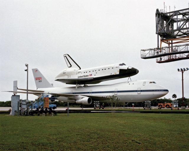 CAPE CANAVERAL, Fla. – At the Kennedy Space Center in Florida, the new space shuttle, Atlantis, arrives at the Shuttle Landing Facility. The shuttle is mounted atop the Shuttle Carrier Aircraft, a modified Boeing 747. Over the next seven months Atlantis will be prepared for its maiden voyage, STS-51J.      Atlantis, NASA's fourth space-rated shuttle, was named after the two-masted boat that served as the primary research vessel for the Woods Hole Oceanographic Institute in Massachusetts from 1930 to 1966. The boat had a 17-member crew and accommodated up to five scientists who worked in two onboard laboratories, examining water samples and marine life. Like its predecessors, Atlantis was constructed by Rockwell International in Palmdale, Calif. The spacecraft was transported over land from Palmdale to Edwards Air Force Base on April 3, 1985 for the cross-country ferry flight to Kennedy. For more: http://www.nasa.gov/centers/kennedy/shuttleoperations/orbiters/atlantis-info.html Photo credit: NASA/Louie Rochefort KSC-385C-1298-02