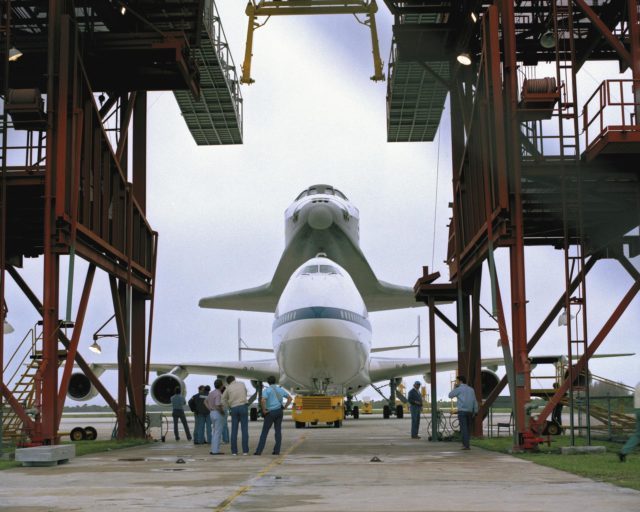 CAPE CANAVERAL, Fla. – At the Kennedy Space Center in Florida, the new space shuttle, Atlantis, arrives at the Shuttle Landing Facility. The shuttle is mounted atop the Shuttle Carrier Aircraft, a modified Boeing 747. Over the next seven months Atlantis will be prepared for its maiden voyage, STS-51J.      Atlantis, NASA's fourth space-rated shuttle, was named after the two-masted boat that served as the primary research vessel for the Woods Hole Oceanographic Institute in Massachusetts from 1930 to 1966. The boat had a 17-member crew and accommodated up to five scientists who worked in two onboard laboratories, examining water samples and marine life. Like its predecessors, Atlantis was constructed by Rockwell International in Palmdale, Calif. The spacecraft was transported over land from Palmdale to Edwards Air Force Base on April 3, 1985 for the cross-country ferry flight to Kennedy. For more: http://www.nasa.gov/centers/kennedy/shuttleoperations/orbiters/atlantis-info.html Photo credit: NASA/Louie Rochefort KSC-385C-1298-06