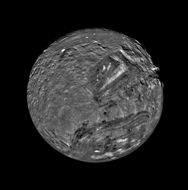 Miranda as seen by Voyager 2