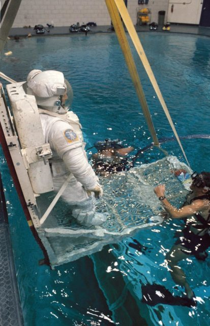 Documentation of preparations for WETF EVA training exercise by ESA Astronaut