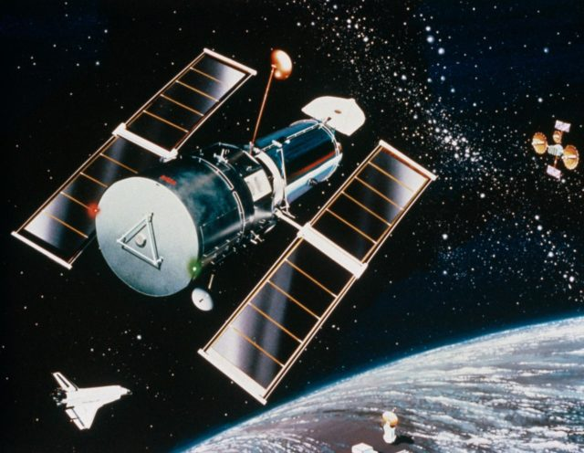 Artist concept of the Hubble Space Telescope (HST) after STS-31 deployment