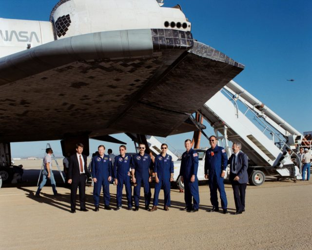 STS-28 crew poses for group portrait during post landing activities