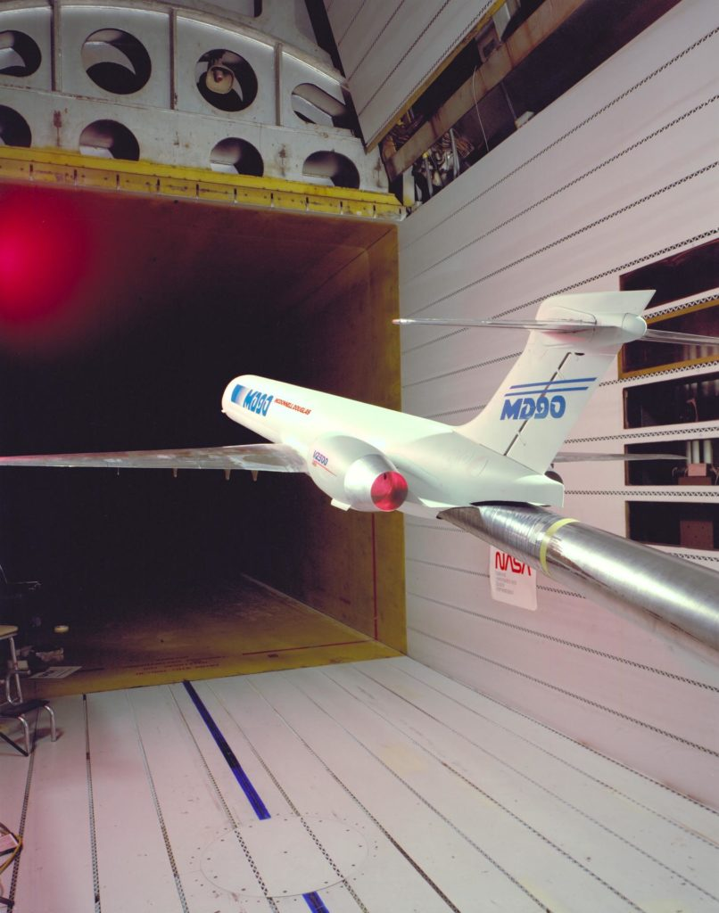 MD-90 Model in NASA Ames Research Center 11ft. Transonic Wind Tunnel  part of the Unitary Plan Wind Tunnel Complex Test-091-1-11 ARC-1990-AC90-0481-8