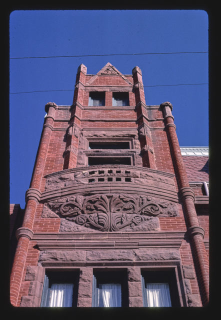 Bank (1889), Willa Cather History Center, up detail, Webster Street, Red Cloud, Nebraska (LOC)
