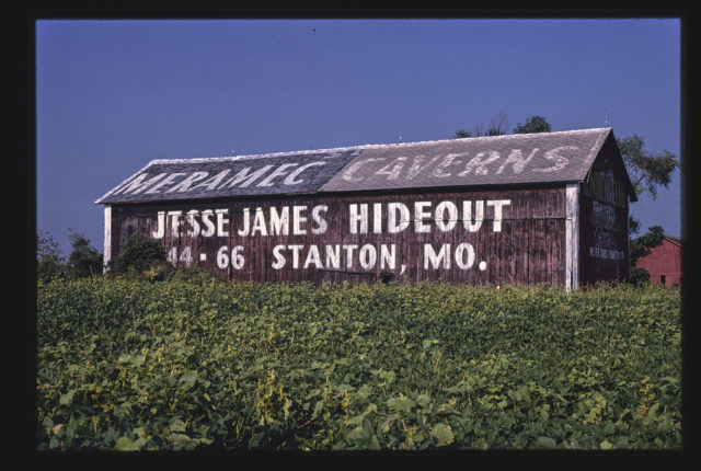 Barn billboard, for Jesse James Hideout in Missouri, Clyde, Ohio (LOC)