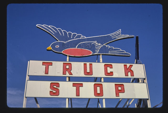 Blue Bird Truck Stop sign, Pryor Street, Atlanta, Georgia (LOC)