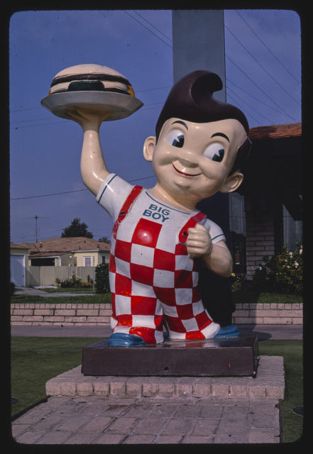 Bob's Big Boy statue sign, closer view, La Cienega Boulevard, Los Angeles, California (LOC)