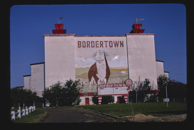 Bordertown Drive-In Theater, blue sky, San Bernardo Avenue, Laredo, Texas (LOC)