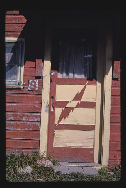 Cabins, cabin #9 lightning door detail, Route 89, Saint Mary, Montana (LOC)