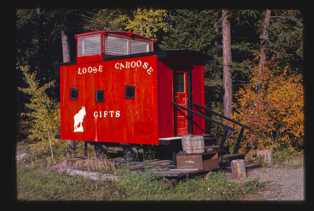 Caboose and Loose Caboose Gift Shop, Loose Caboose detail, Route 93, Whitefish, Montana (LOC)