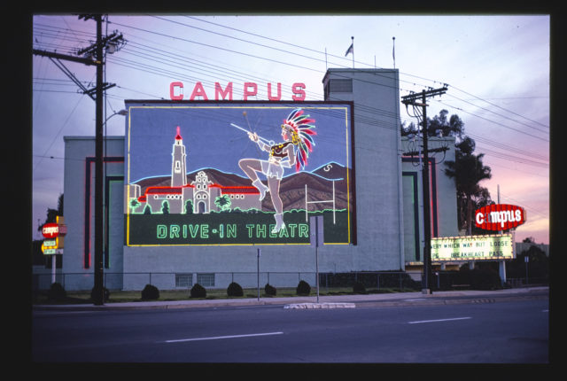 Campus Drive-In Theater, closer view with neon, El Cajon Boulevard, San Diego, California (LOC)