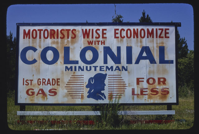 Colonial Gas sign-billboard, Route 40, St. Marys, Georgia (LOC)