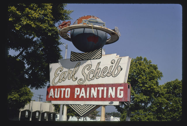 Earl Schieb Auto Painting sign, upper detail, Olympic Boulevard, Beverly Hills, California (LOC)