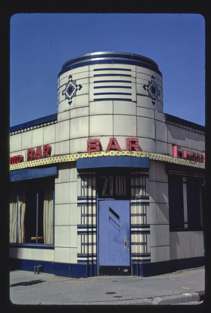 Elwood Bar, entrance detail, closer overall view, 200 Woodward Avenue, Detroit, Michigan (LOC)