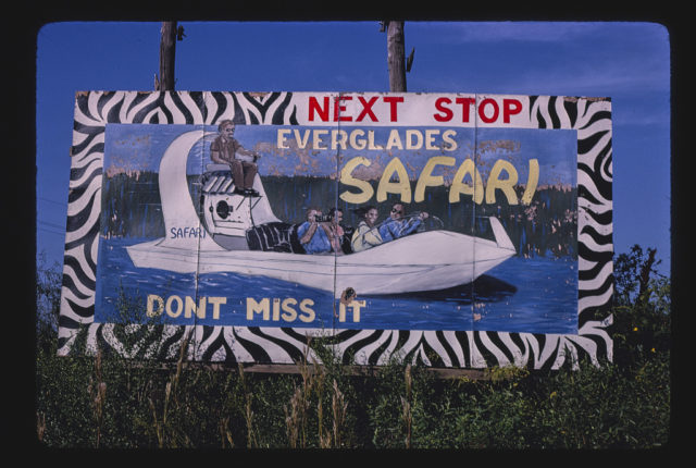 Everglades Safari billboard, Route 41, Dade County, Florida (LOC)