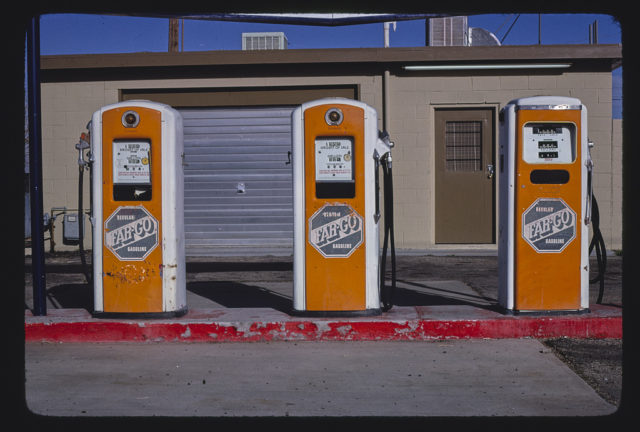 Far-Go gas pumps, Main Street, Barstow, California (LOC)