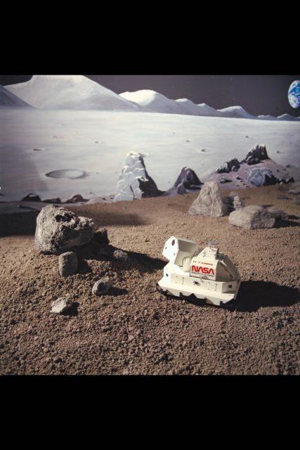 Ames Robotics Laboratory, T-1 Robot in 'sandbox' ARC-1992-AC92-0040-4