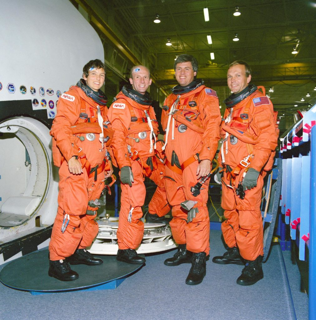 STS-55 German payload specialists (and backups) in LESs during JSC training