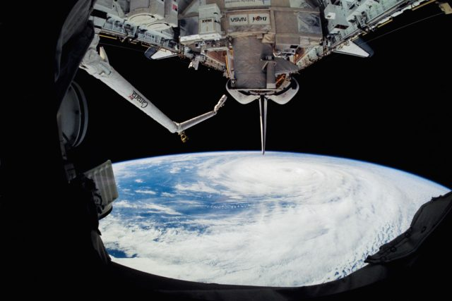 Fish-eye view of Hurricane Kenneth in the Pacific Ocean