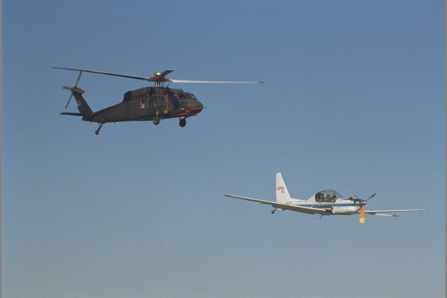 UH-60 Blackhawk (NASA 748) and YO-3A (NASA-718) inflight over Altamont Pass, CA - Blade Vortex Interaction Noise experiment ARC-1993-AC93-0593-13